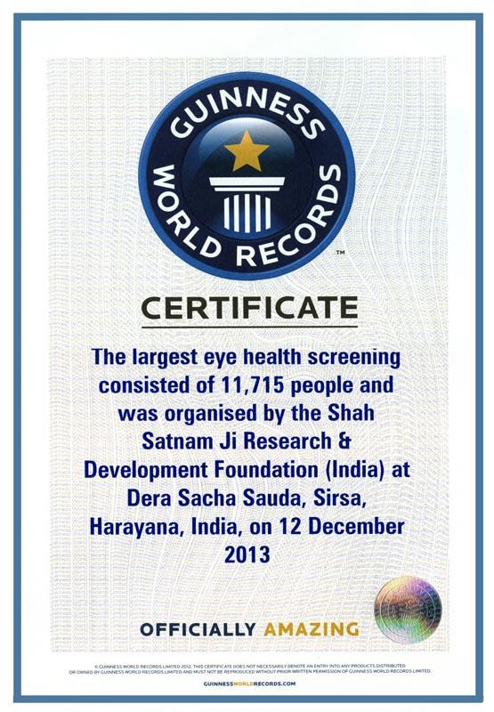 largest eye screening camp 12 dec 2013